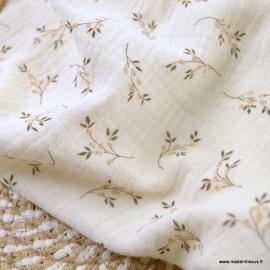 Double gaze de coton Bio Gots & oeko tex motifs fleurs fond Ecru - Mika