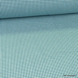 Tissu vichy petits carreaux 100%coton pétrole - Oeko tex