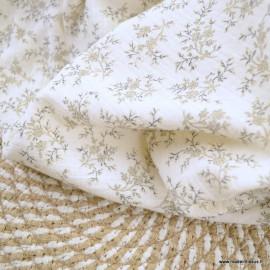 Double gaze de coton Bio Gots & oeko tex Colette motifs fleurs fond Ecru