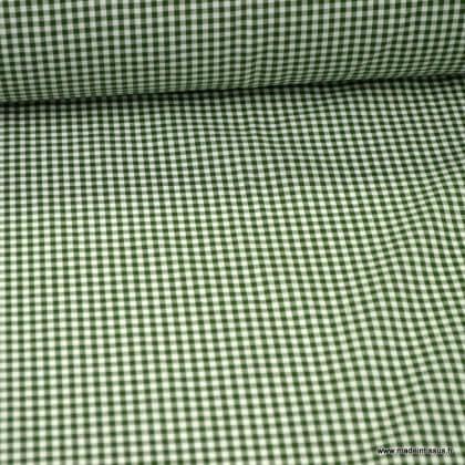 Tissu vichy petits carreaux 100%coton vert sapin - Oeko tex