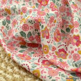Voile de coton Bio Gots & oeko tex motifs fleurs roses et fuchsia