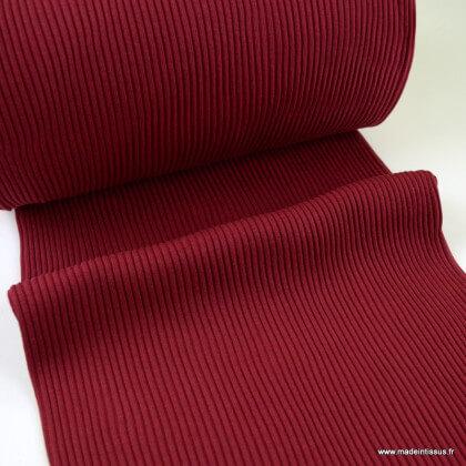 Tissu jersey Bord-côte Tubulaire côtelé Bordeaux - oeko tex