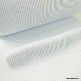 Tissu jersey Bord-côte Tubulaire côtelé Blanc - oeko tex