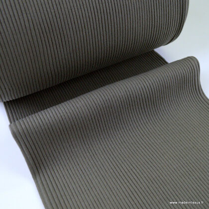 Tissu jersey Bord-côte Tubulaire côtelé Taupe - oeko tex