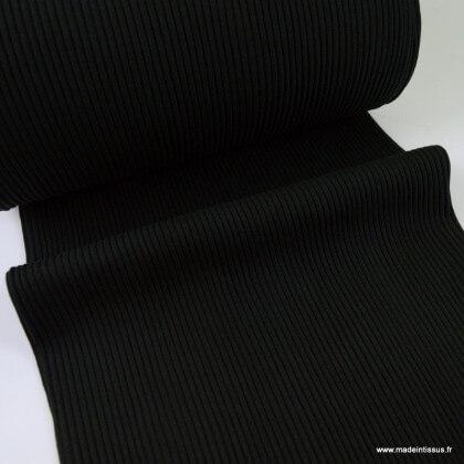 Tissu jersey Bord-côte Tubulaire côtelé Noir - oeko tex