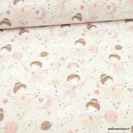 Tissu Cretonne motif fées, lunes et étoiles Or Demilune - Oeko tex