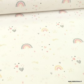 Tissu Cretonne motif arc en ciels et étoiles or - Valuna - Oeko tex