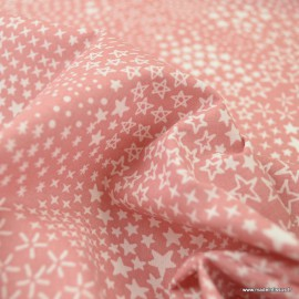 Tissu Cretonne motif étoiles fond rose - Anggun - Oeko tex