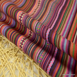 Tissu Mexicain rayures Bayadère - Miguel -  Multicouleurs