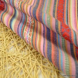 Tissu Mexicain rayures - Manuel-  Multicouleurs