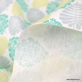 Pul contact alimentaire motifs feuilles Céladon - oeko tex