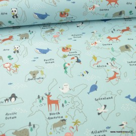 Tissu à colorier motifs map monde et animaux fond bleu - Mapzoo - Oeko tex