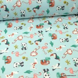Tissu motifs pandas, toucans et paresseux fond bleu - Matahi - Oeko tex