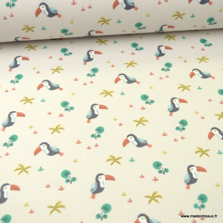 Tissu motifs toucans fond lin - Touna - Oeko tex