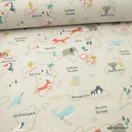 Tissu coton motifs map monde et animaux fond Grège - Mapzoo - Oeko tex