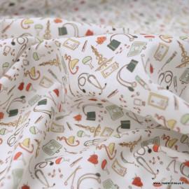 Tissu popeline coton motifs infirmière et medecine - oeko tex