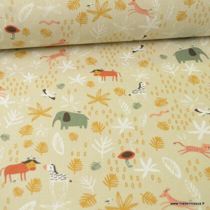 Tissu coton motifs animaux de la savane - Gizou- Oeko tex