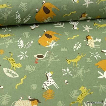 Tissu coton motifs animaux de la savane fond Kaki - Gnou- Oeko tex