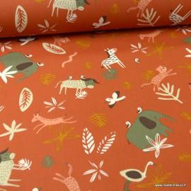 Tissu coton motifs animaux de la savane fond Terracotta - Gnou- Oeko tex