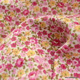 Tissu Popeline coton imprimé fleurs roses et Fuchsia