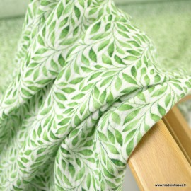 Tissu double gaze de coton feuillage vert Elisabeth - Oeko tex