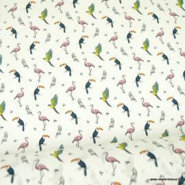 Tissu popeline coton motifs Toucans et flamants - oeko tex