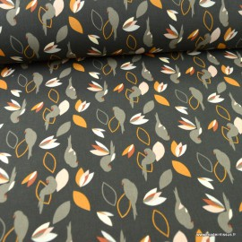 Toile de coton type Canva Miperk motifs Perroquets fond Charbon - oeko tex