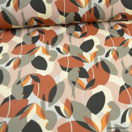 Toile de coton type Canva Psitta motifs Perroquets et feuillages - oeko tex