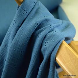 Tissu Double gaze brodée Denise coloris Bleu indigo - oeko tex