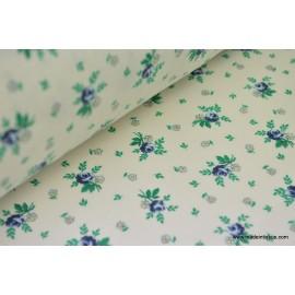 Tissu coton liberty petites fleurs bleues
