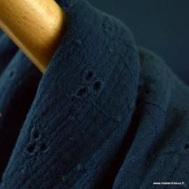 Tissu Double gaze brodée Denise coloris Bleu marine - oeko tex