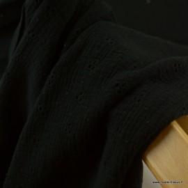 Tissu Double gaze brodée Denise coloris Noir - oeko tex