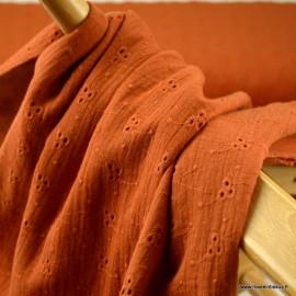 Tissu Double gaze brodée Denise coloris Terracotta - oeko tex
