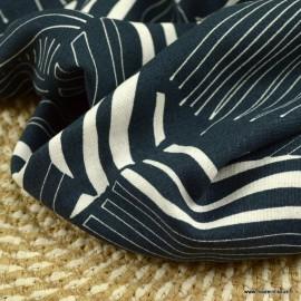 Tissu viscose Lin motif feuillages abstraits marine et blanc
