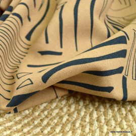 Tissu viscose Lin motif feuillages abstraits beige et noir