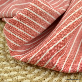 Tissu viscose Lin chambray à rayures Rouge