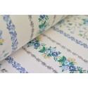 Tissu coton rayures de fleurs bleues . x1m