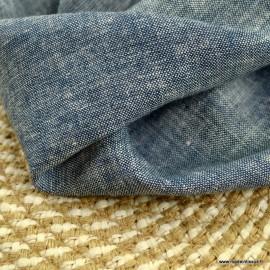 Tissu viscose Lin chambray indigo