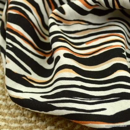 Tissu viscose Lin motif rayures marrons et noires