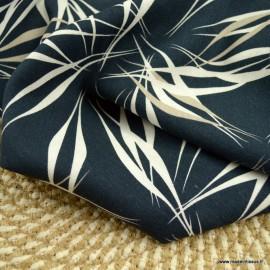 Tissu viscose Lin motif feuillage marine