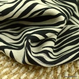 Tissu viscose Lin motif feuilles Noir