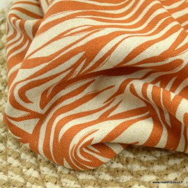 Tissu viscose Lin motif feuilles Terracotta
