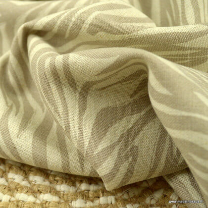 Tissu viscose Lin motif feuilles Beige