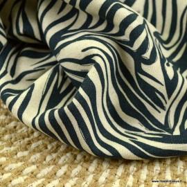 Tissu viscose Lin motif feuilles Marine