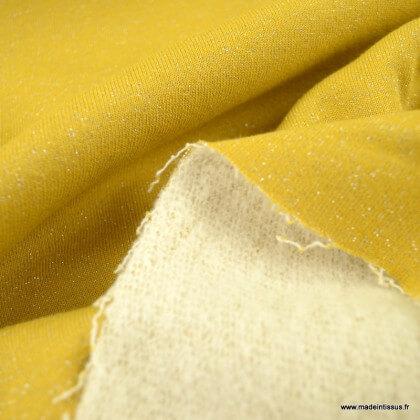 Tissu jersey French terry Lurex coloris Ocre - Oeko tex