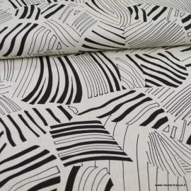 Tissu viscose Lin motif feuillages abstraits blanc cassé et noir