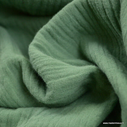 Tissu Double gaze coton Céladon - oeko tex