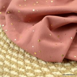 Tissu jersey Corail à pois dorés
