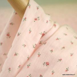 Double gaze de coton Bio Gots & oeko tex Simone motifs petites fleurs fond Rose