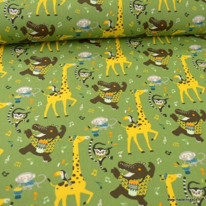 Tissu Coton Oeko tex imprimé animaux Jazzy fond Kaki - Oeko tex